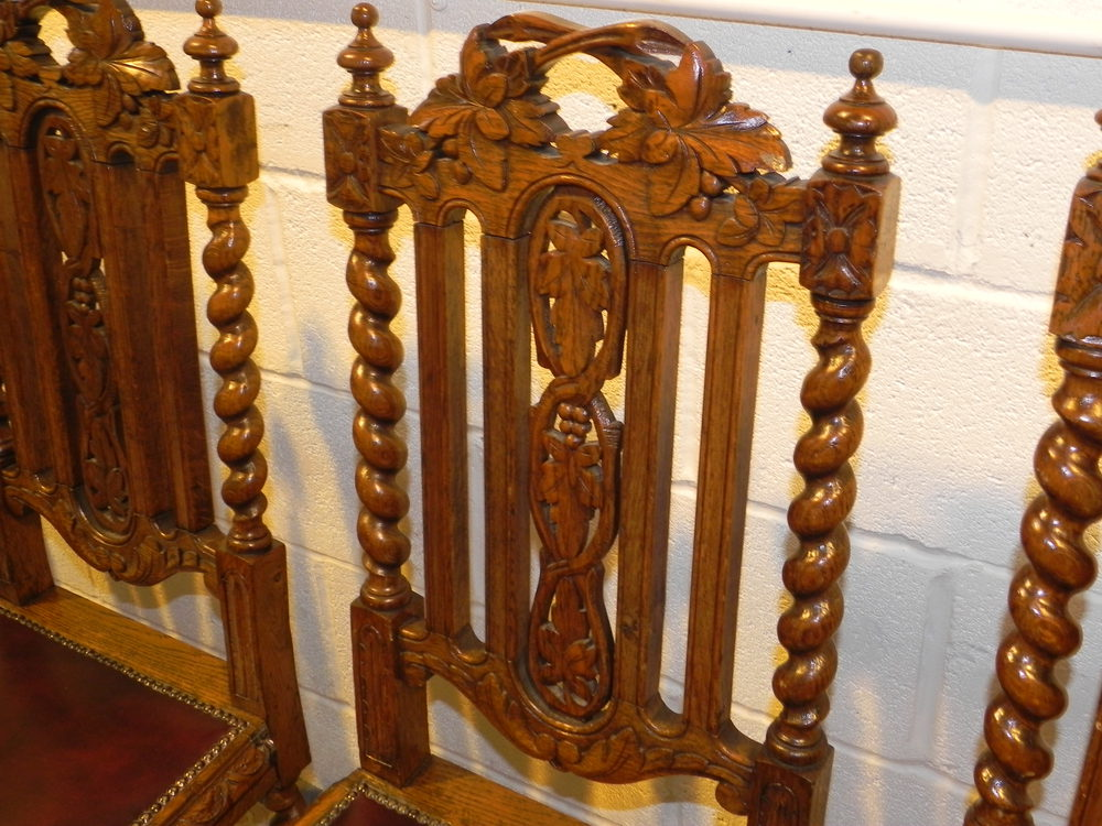 Antique Victorian Ornate Oak Carved Dining Chairs ...