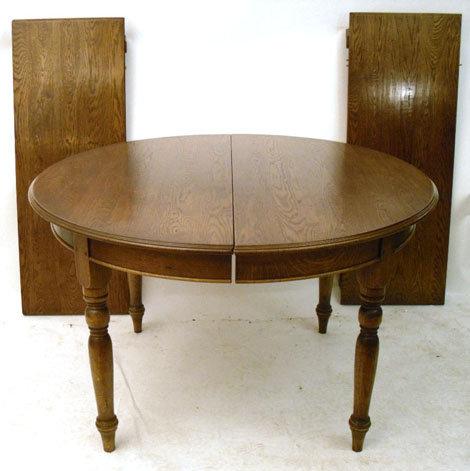 Oak Circular Extending Dining Table Antique Tables Alt5 Alt6