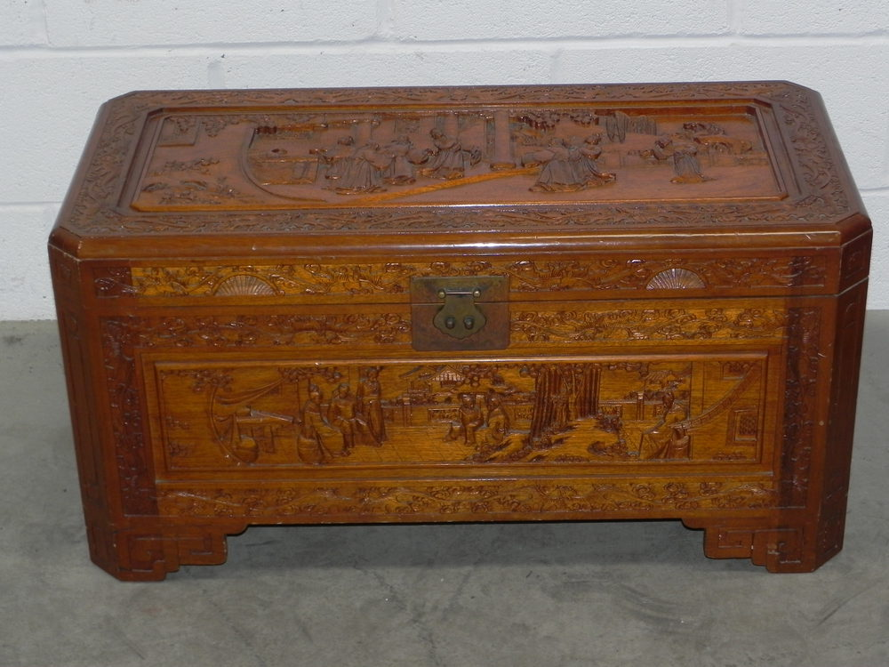 Oriental Carved Camphor Wood Trunk Box ...