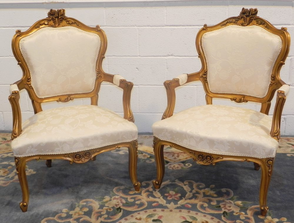 Pair Of Restored Antique 19thc Arm Chairs Louis XV ...