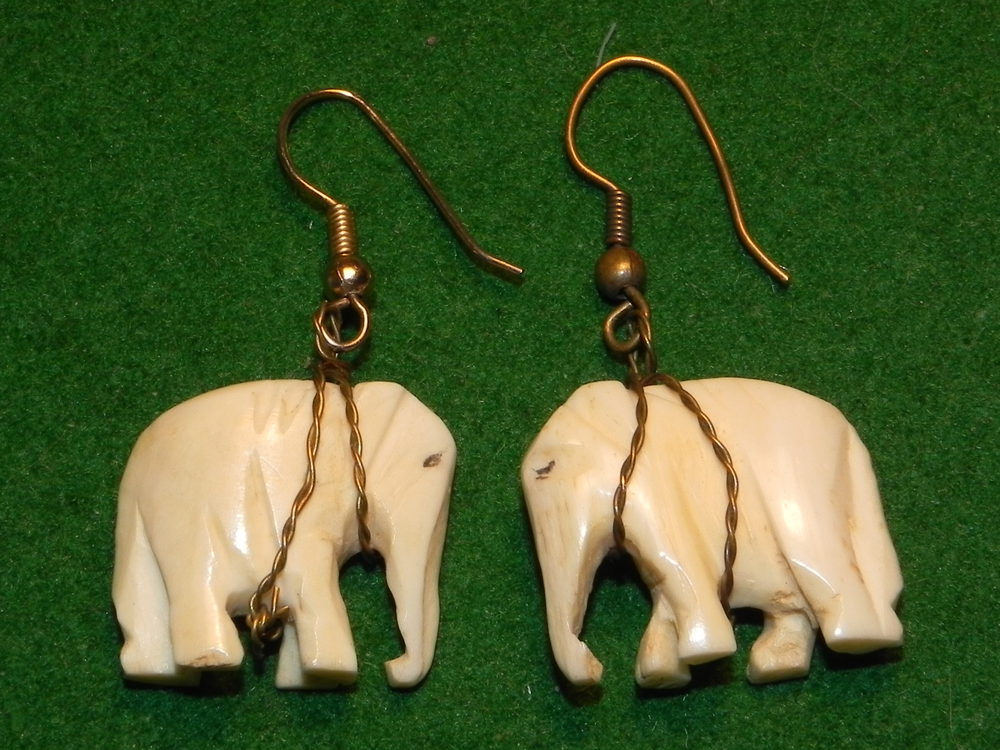 Antiques Atlas - Vintage Art Deco 1920's Ivory Elephant Earrings