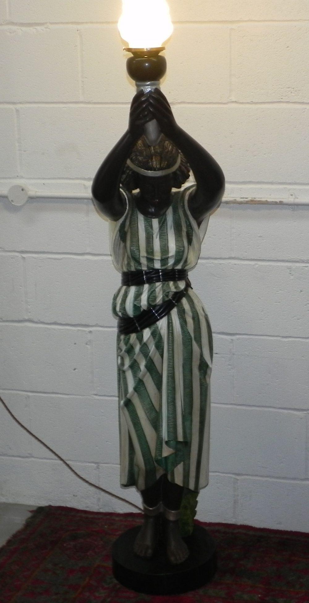 Vintage Art Deco Blackamore Slave Girl Floor Lamp
