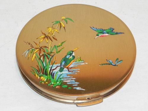 Antiques Atlas Vintage Stratton Kingfisher Powder Compact