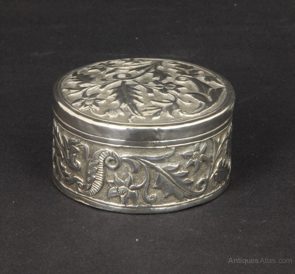 Antiques Atlas Anglo Indian Kutch Silver Pill Box C1910