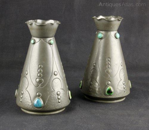 Antiques Atlas Art Nouveau Pewter Ruskin Vases J Dixon C1920