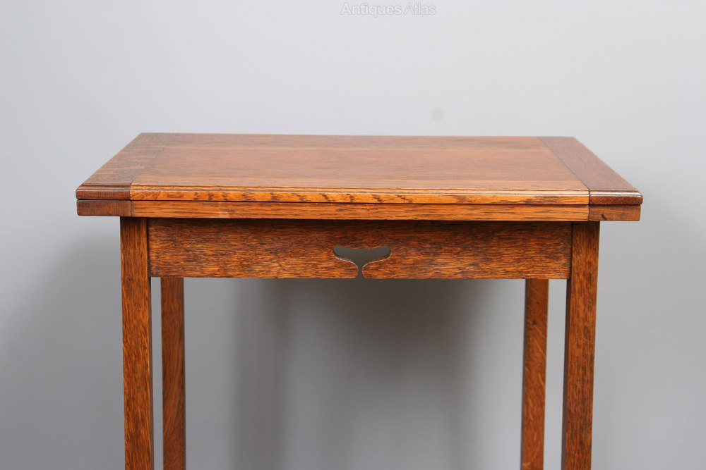 Arts And Crafts Oak Folding Card Writing Table Antique Tables