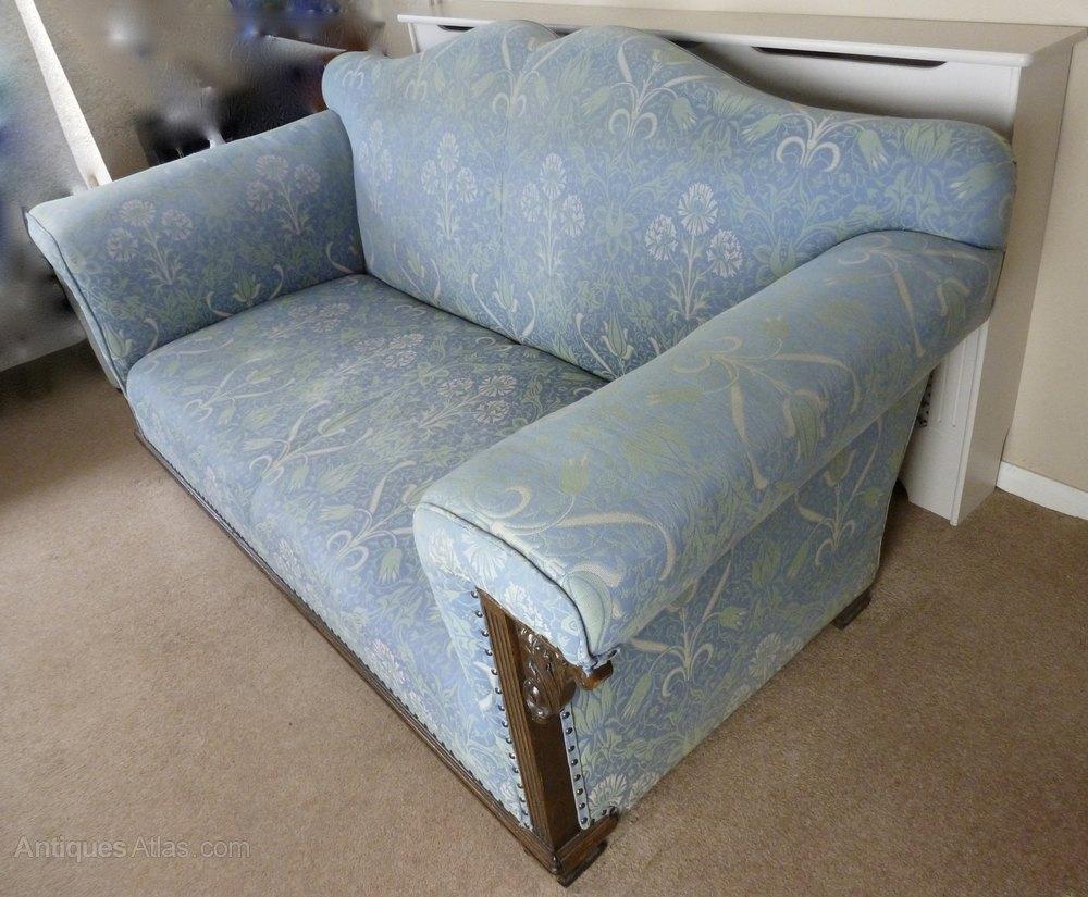 edwardian oak arts crafts fabric upholstered sofa. Black Bedroom Furniture Sets. Home Design Ideas