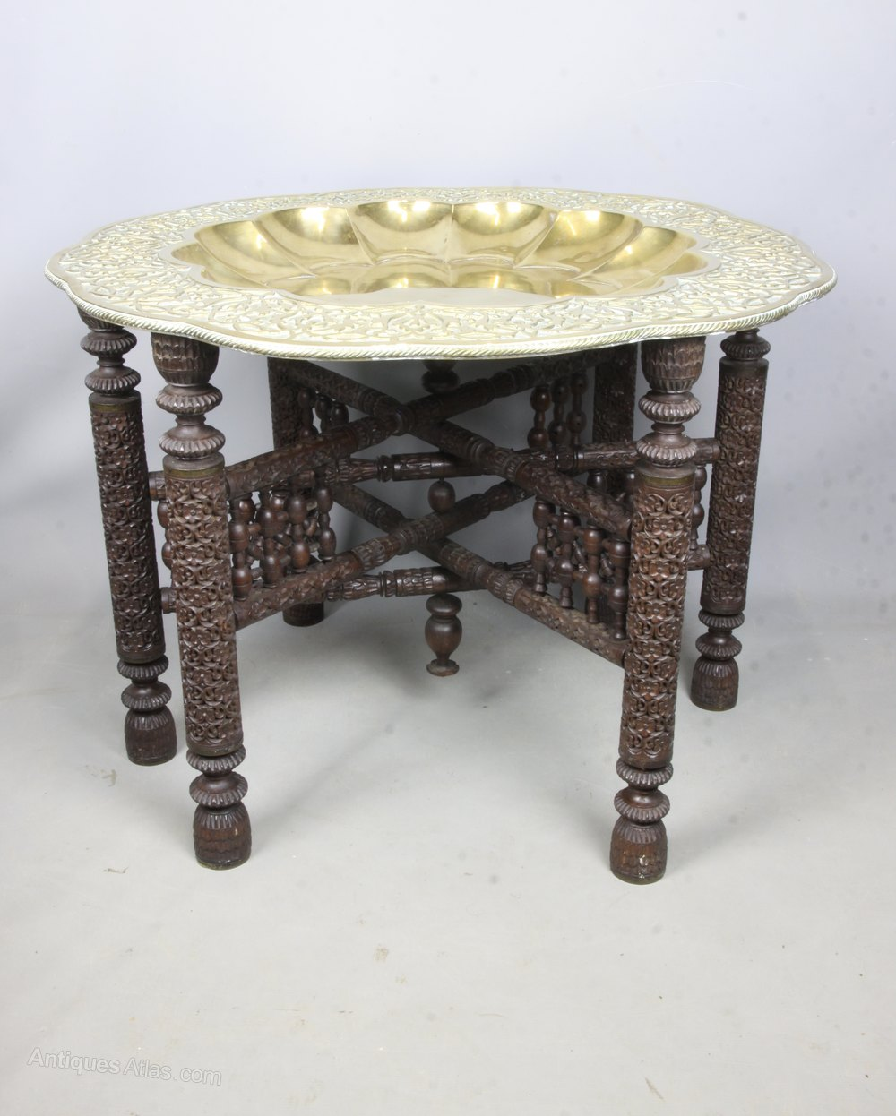 Picture of: Large Indian Brass Tray Table On Hardwood Stand Antiques Atlas