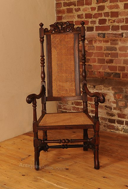 ... Antique Throne, Ceremonial and Trophy Chairs - Carolian Walnut Throne Chair With Caned Seat - Antiques Atlas