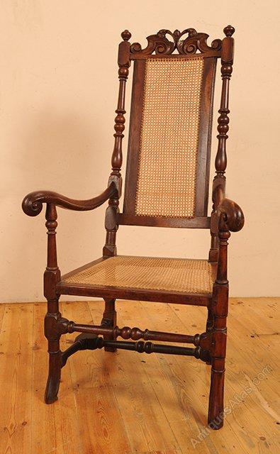 Carolian Walnut Throne Chair With Caned Seat