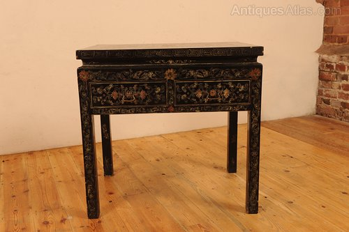 Chinese Black Lacquer Side Table With Drawers Antique Side Tables ...