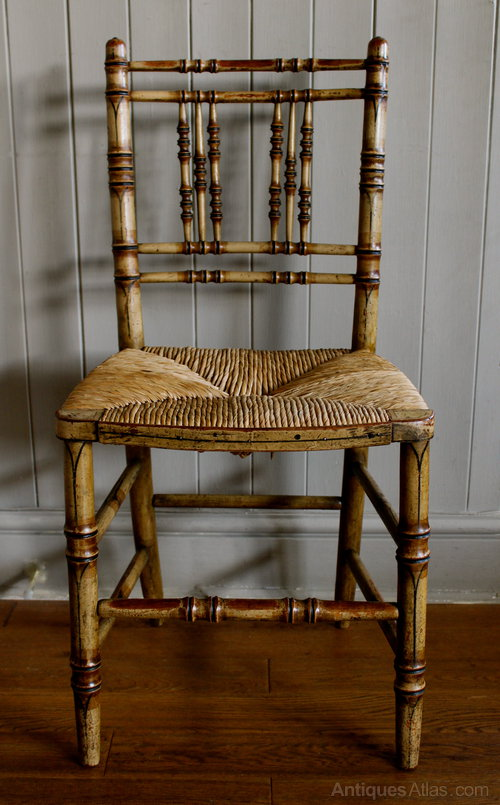 Victorian Faux Bamboo & Rush Seated Painted Chair - Victorian Faux Bamboo & Rush Seated Painted Chair - Antiques Atlas