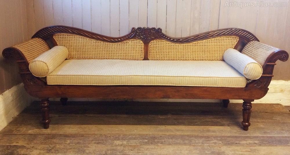 Vintage Anglo Indian Teak Amp Rattan Sofa Settle
