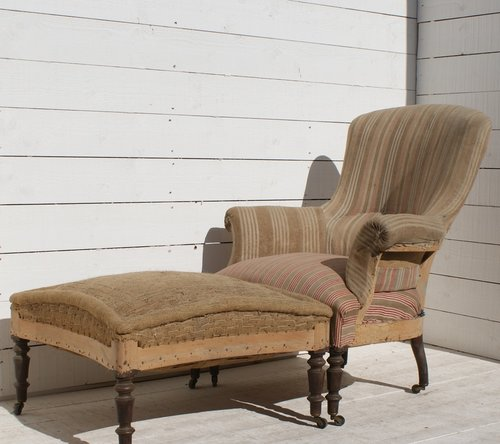 Antique French Armchair Footstool ...