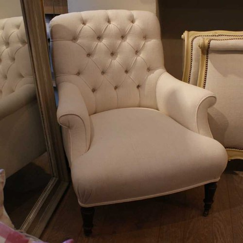 Antique French Linen Armchair ...