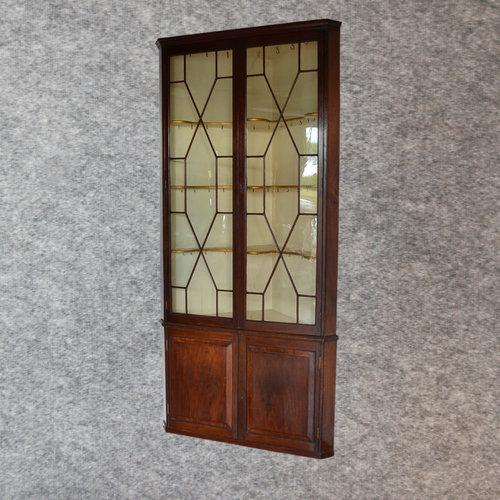 Antique 8 Tall Corner Display Cabinet Astragal Gl