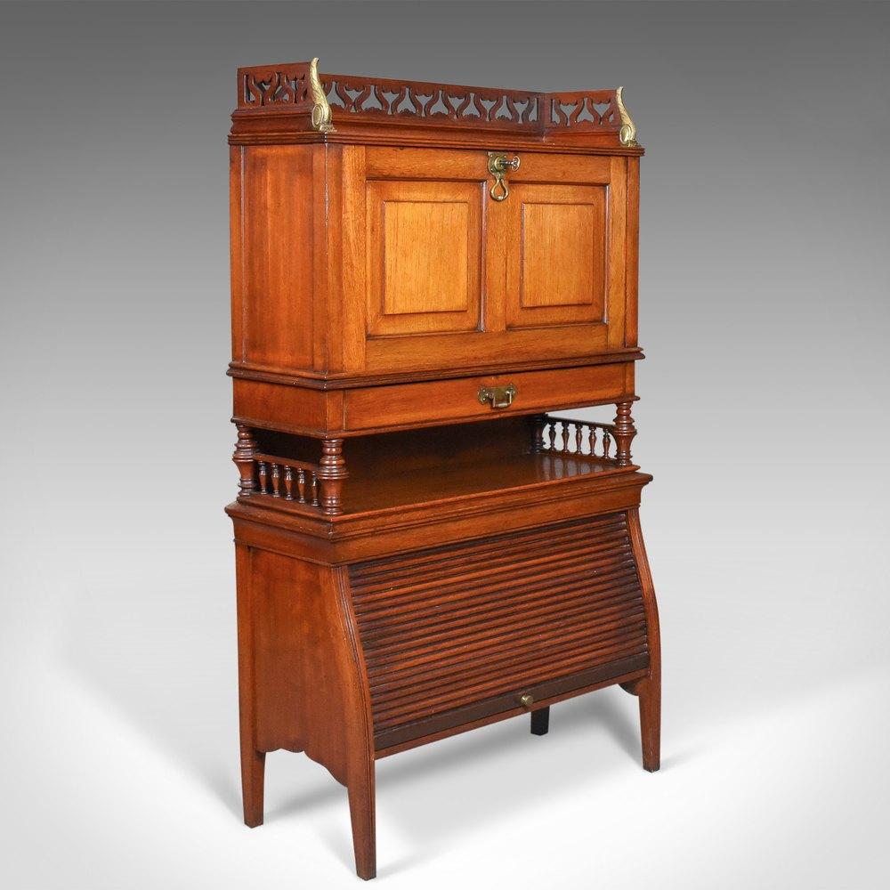 English walnut antique bureau cabinet edwardian for Bureau in english
