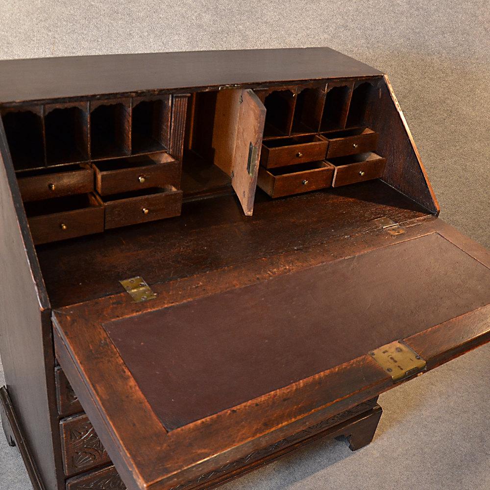 ... Antique Bureau Carved ... - Antique Bureau Carved Oak 3' Georgian English 18th - Antiques Atlas