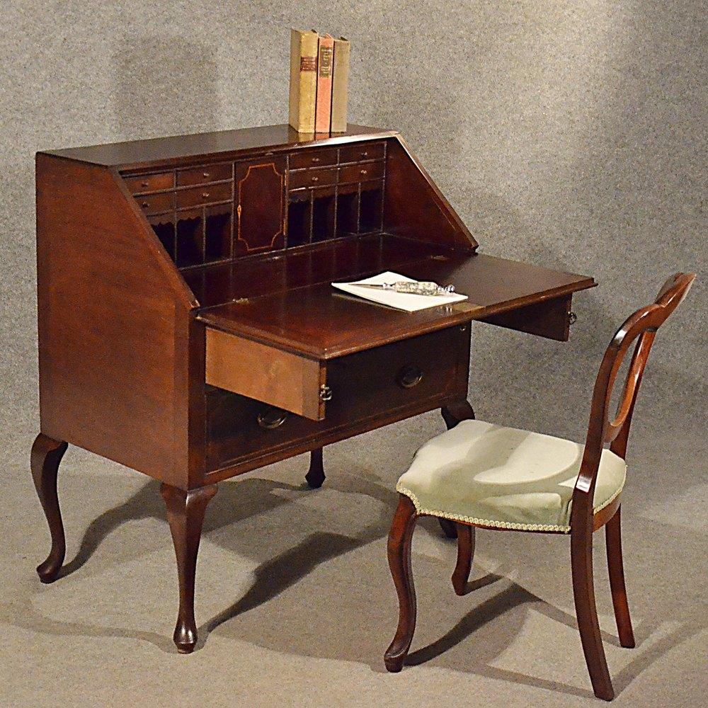 Antique Bureau Writing Study Desk Quality Mahogany ... - Antique Bureau Writing Study Desk Quality Mahogany - Antiques Atlas