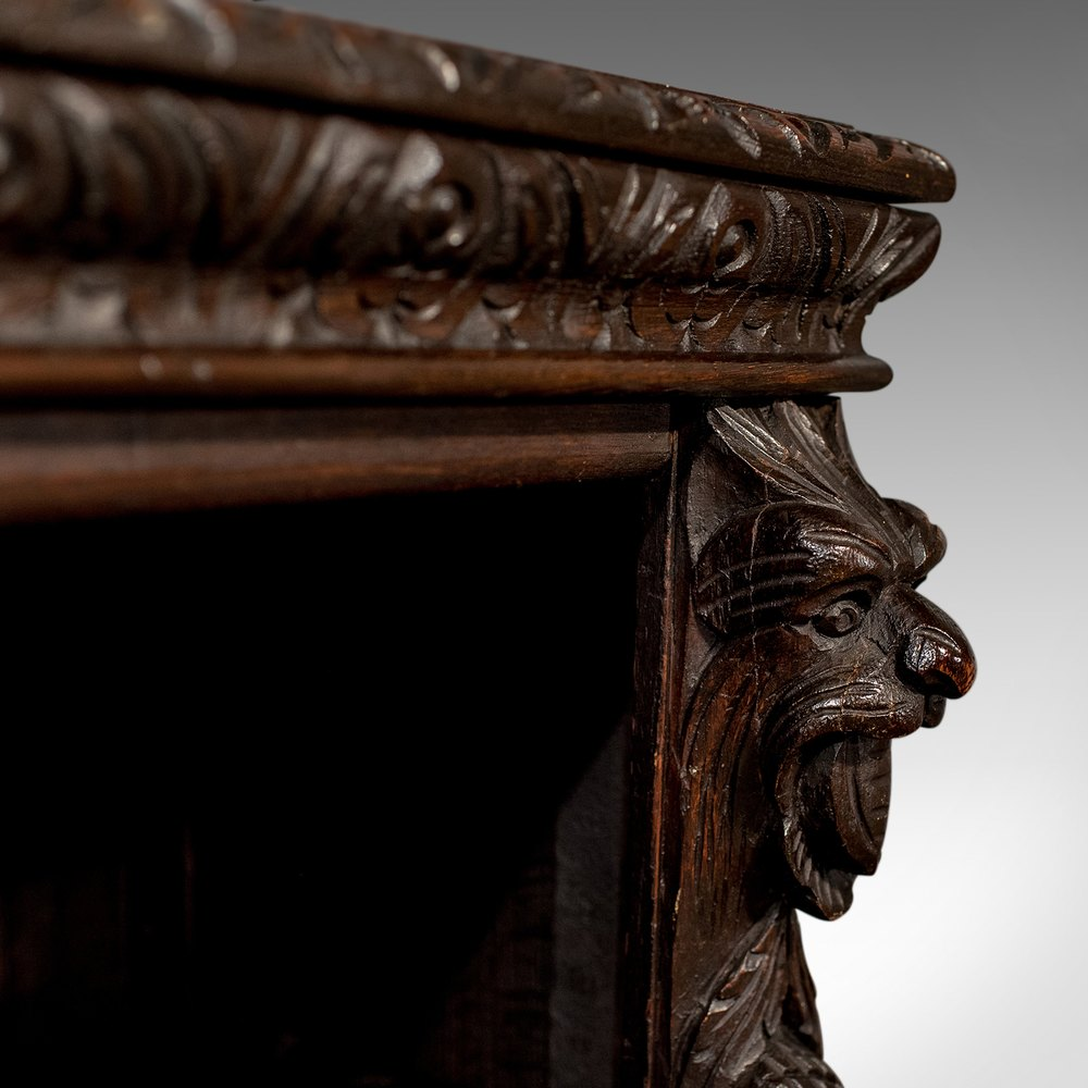 Antique Carved Oak Gothic Bookcase Library Cabinet ...