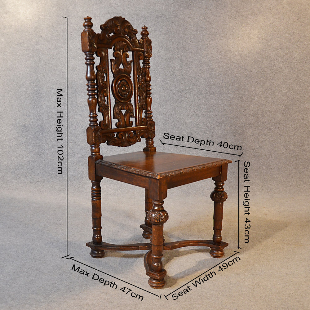 Antique Chair Oak Tall High Back Drawing Room Antique Hall Chairs ... - Antique Chair Oak Tall High Back Drawing Room - Antiques Atlas