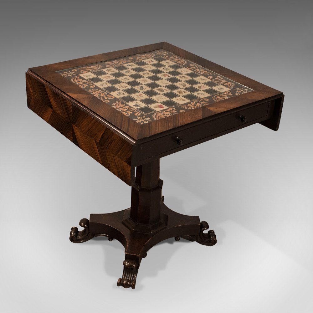Antique Chess Board Table
