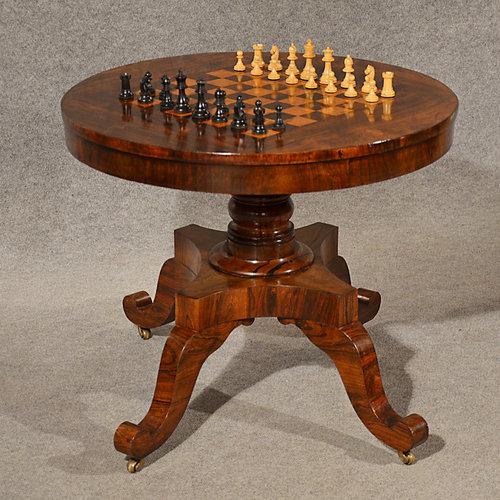 Chess Library Table Burr Walnut