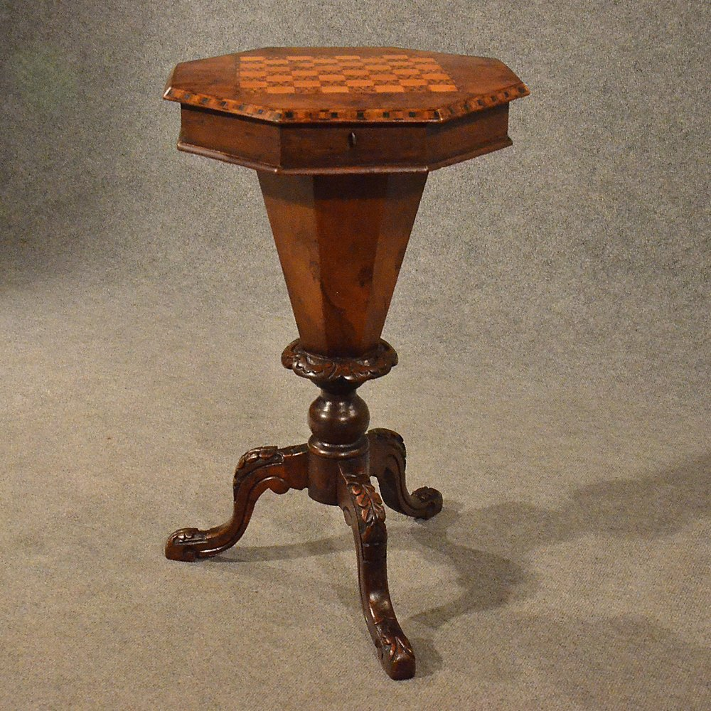 Antique Chess Side Lamp Table Workbox Sewing Box