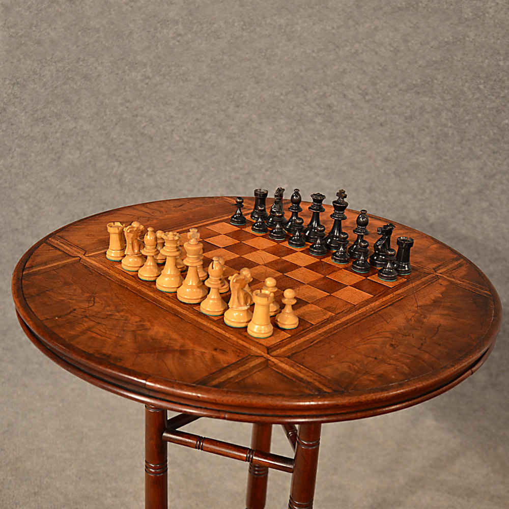 Antique Chess Table Games Lamp Wine Tripod Fine Antiques