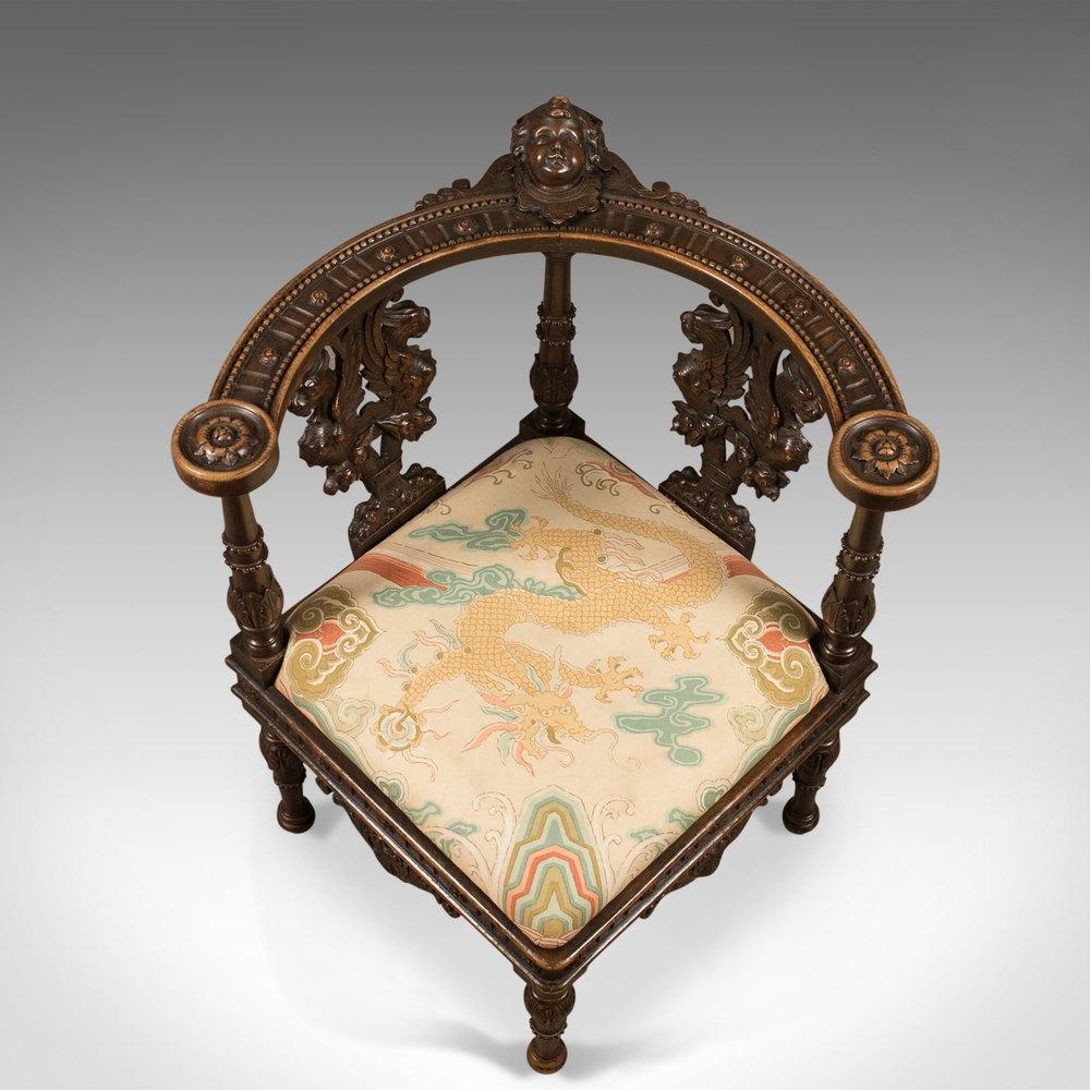 Antique Corner Armchair, Carved Victorian Chair C.1870 ...