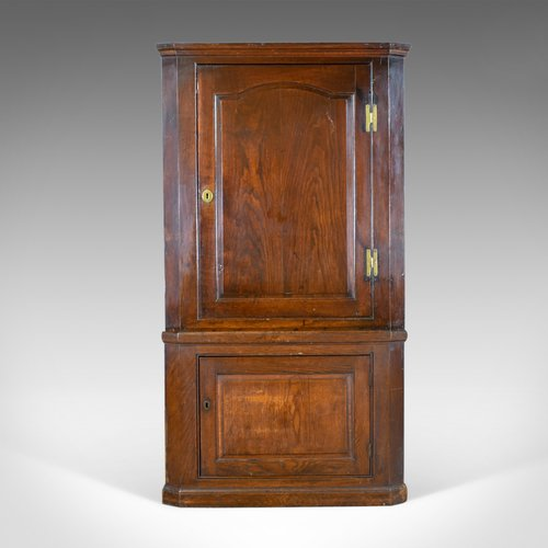 Antique Corner Cabinet, English, Oak, Georgian, - Antique Corner Cabinet, English, Oak, Georgian, - Antiques Atlas
