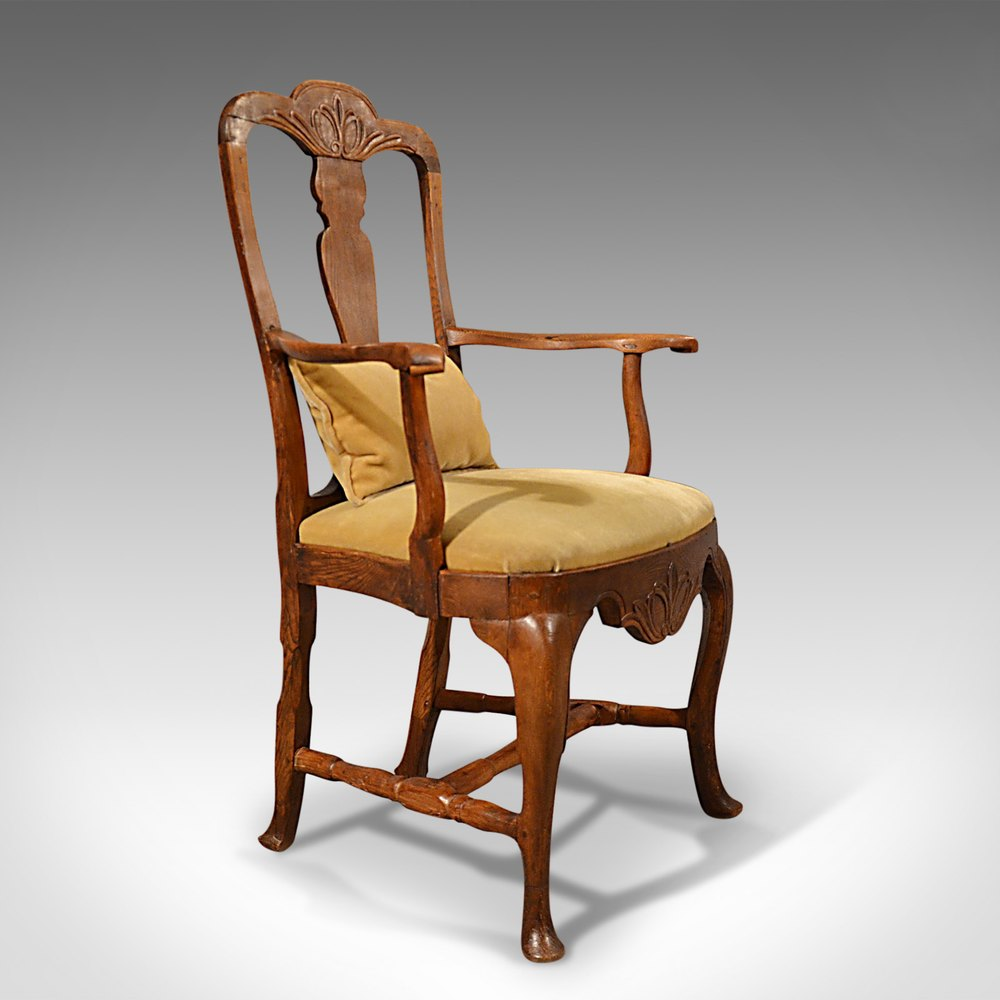 Antique Elbow Chair Large Oak Ash Elm Study Desk