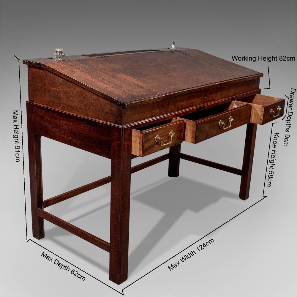 Antique English Georgian School Writing Desk Desks