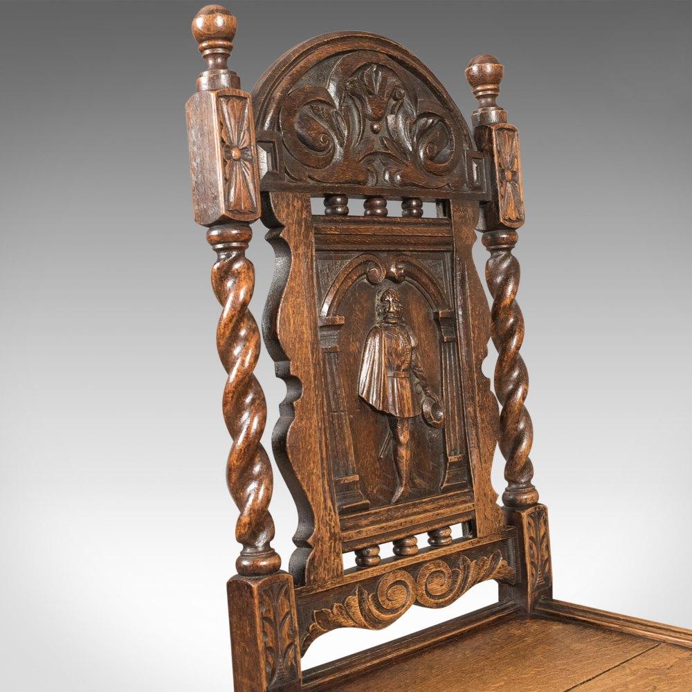 Antique Flemish Hall Chair Carved Oak C 1900 Antiques Atlas