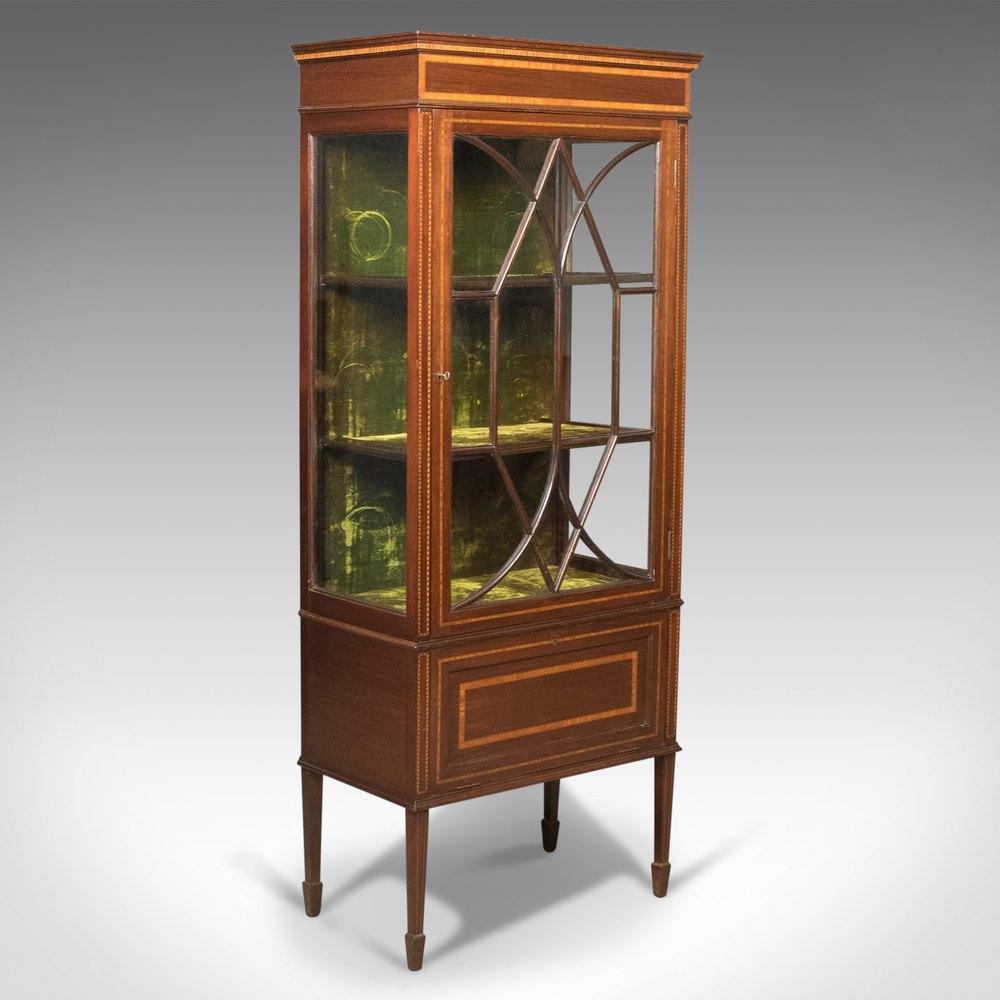 Antique glazed display cabinet mahogany edwardian for Antique display cabinet