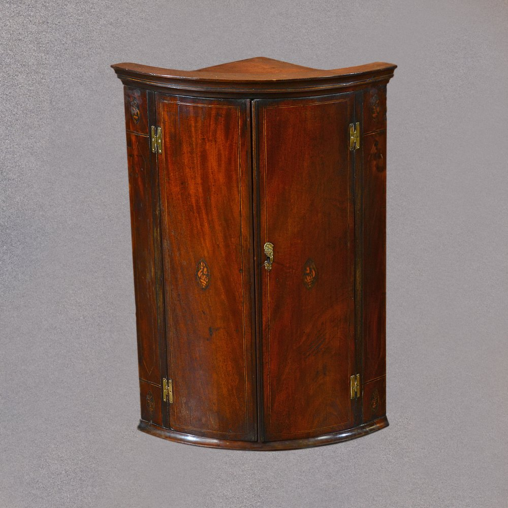 Antique Hanging Corner Cabinet, Georgian Bow Front ... - Antique Hanging Corner Cabinet, Georgian Bow Front - Antiques Atlas