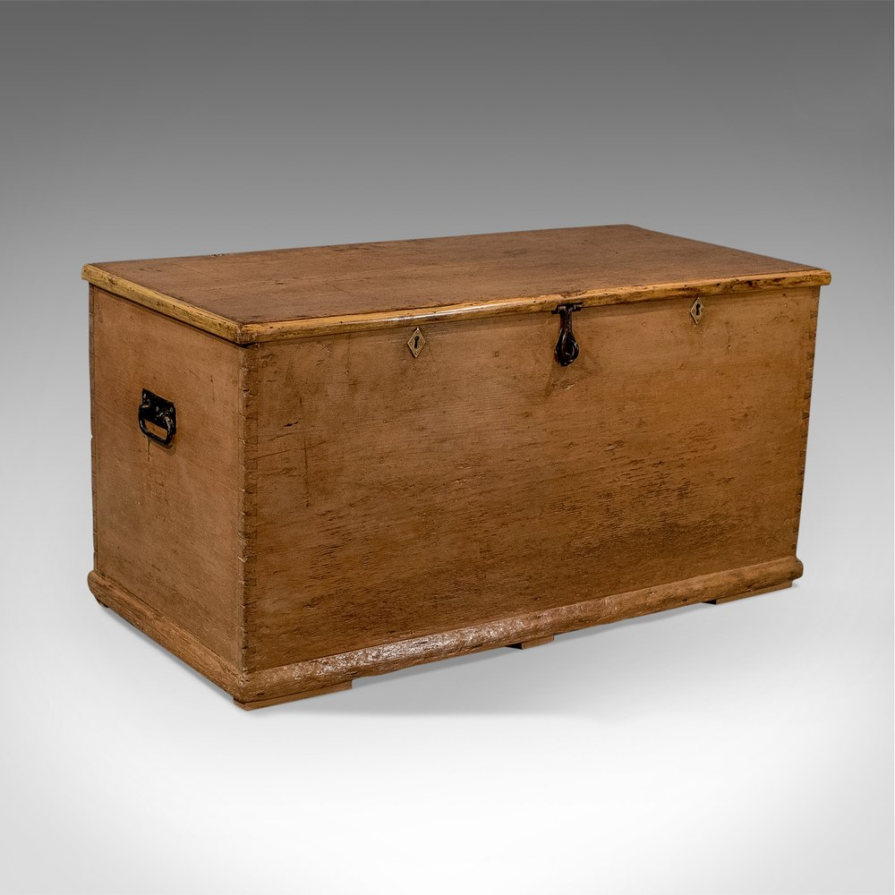 Antique Trunks And Chests ~ Antique large victorian pine trunk storage chest