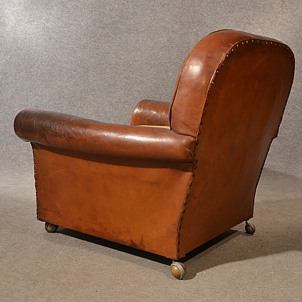 Antique Leather Armchair Vintage Club Easy Chair V ...