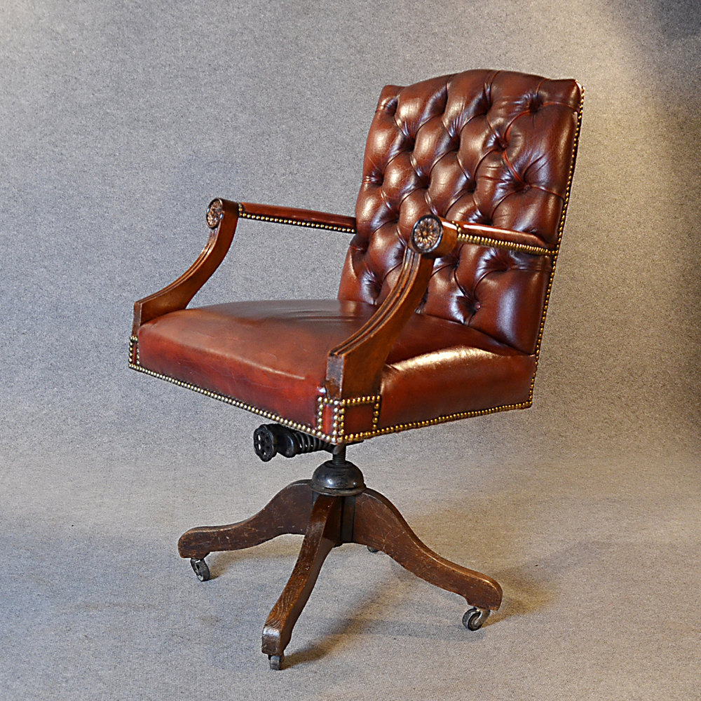 antique leather desk office swivel chair antiques atlas - Leather Office Swivel Chair. Winston Office Furniture Office Chairs