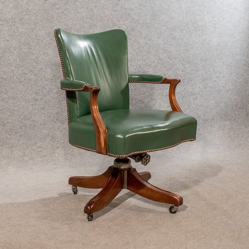 Antique Leather Desk Study Chair Swivel Office