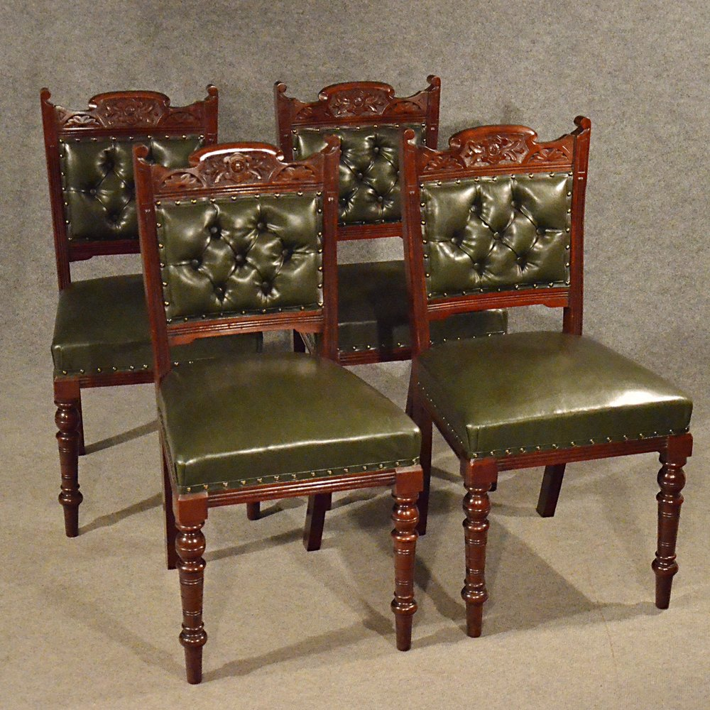 Antique Leather Upholstered Dining Chairs Quality ...