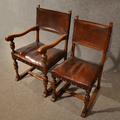 ... Chairs Antique Leather ... - Antique Leather & Oak Dining Chairs Set 6 Wide - Antiques Atlas