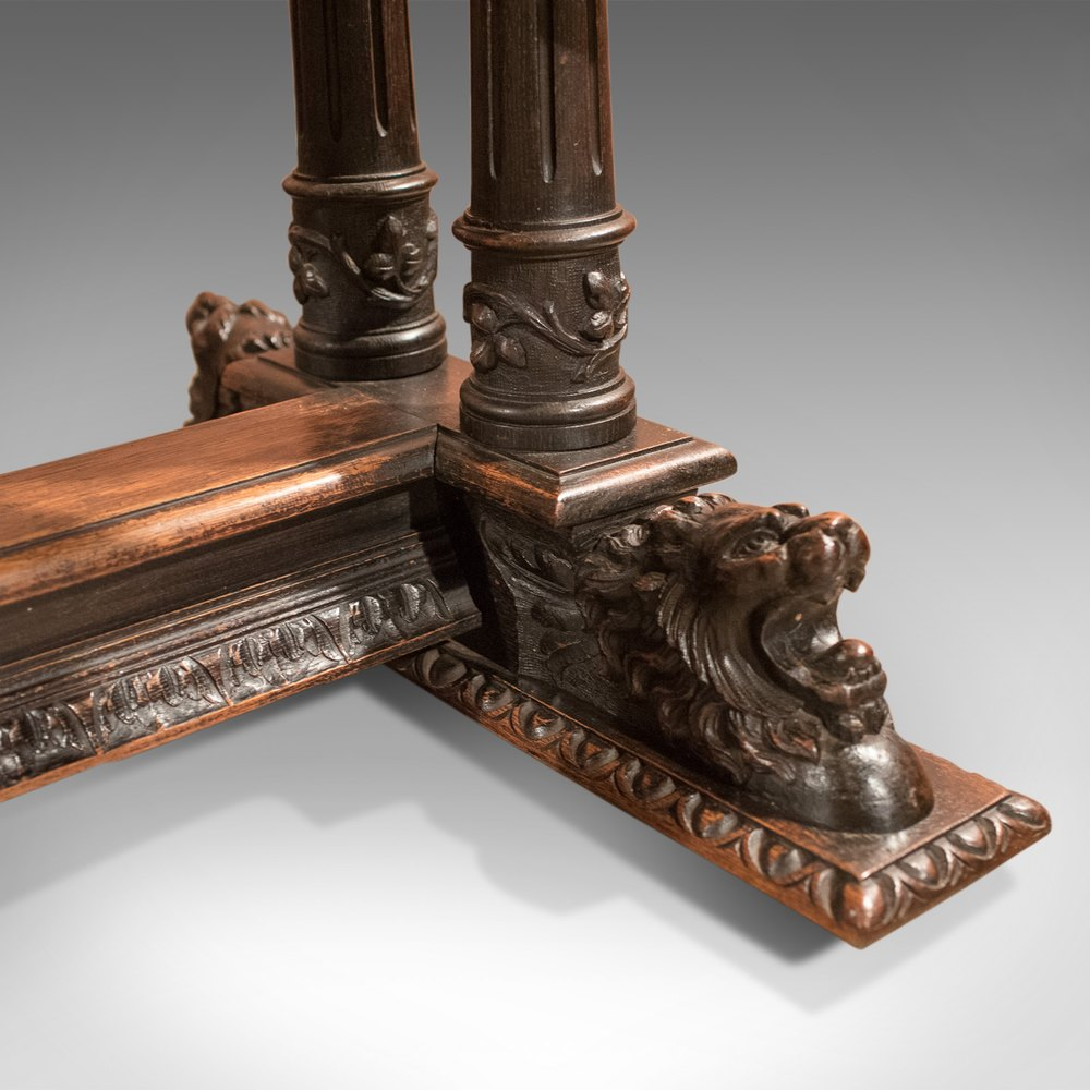 Antique Library Table, Victorian Carved Oak, Scottish