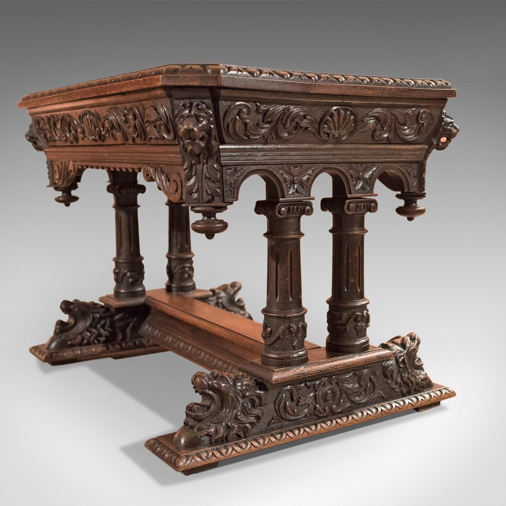 Antique Library Table, Victorian Carved Oak, Scottish ...