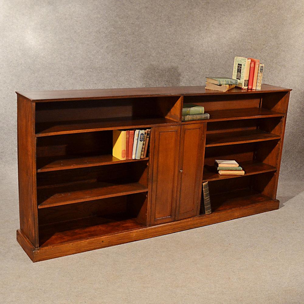 Antique Long Bookcase Large Oak Library Cabinet