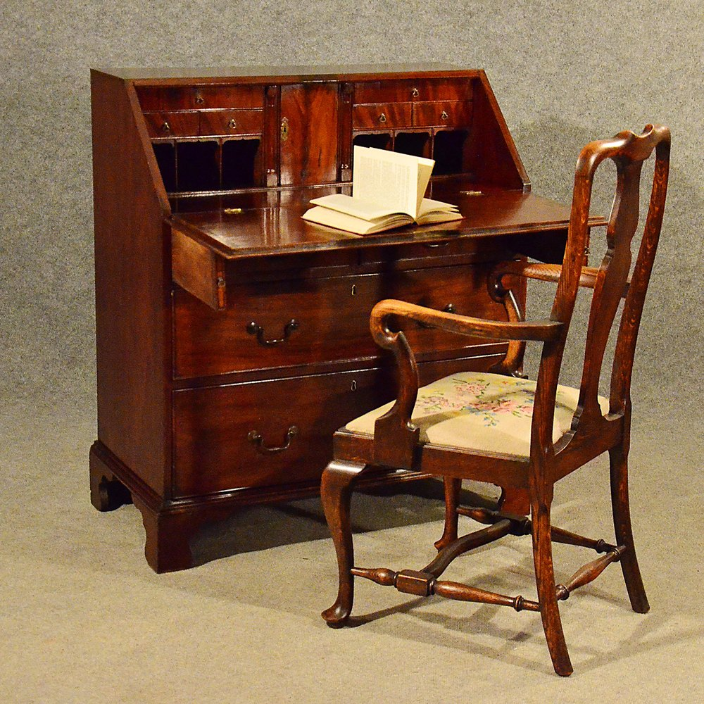 Antique Mahogany Bureau Writing Study Desk Fine ... - Antique Mahogany Bureau Writing Study Desk Fine - Antiques Atlas