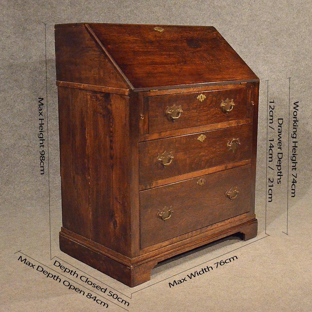 Antique Oak Bureau Writing Study Desk