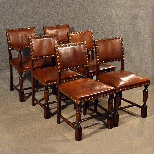 Antique Oak Chairs U0026 Carvers Set 6 Leather Seat