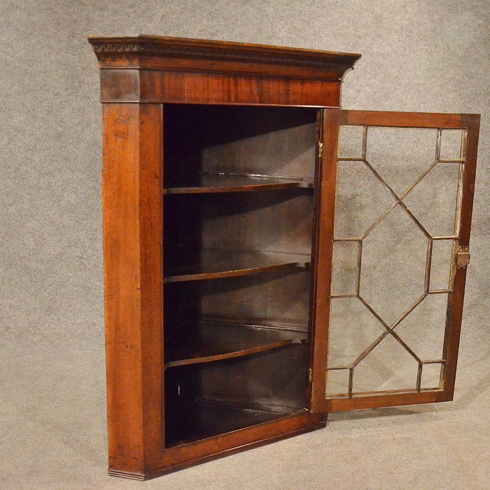 Antique Oak Corner Cupboard English Georgian Wall Cabinet
