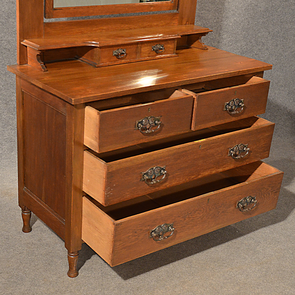 Antique Oak Dressing Table Vanity Chest Of Drawers